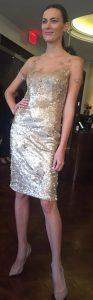 Matte gold sequin Rene Ruiz cocktail dress