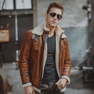 Men's camel color shearling jacket