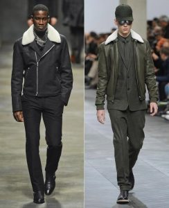 Men's darker shearling dressed up outfits