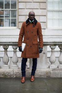 men's shearling camel color overcoat