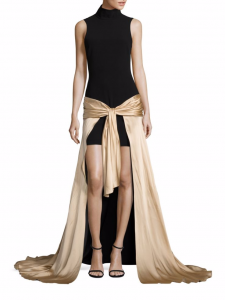 Cinq à Sept Thea black with gold skirt high-low gown