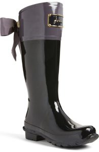 Gray and Black bow tie Evedon rain boot