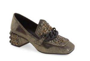 Jeffrey Campbell Loreen studded metallic block heel loafer