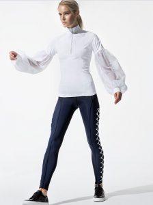 Jonathan Simkhai x Carbon38 white top and navy workout pants