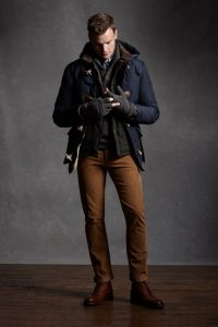 Men's winter outfit, corduroy pants, navy toggle jacket and sweater