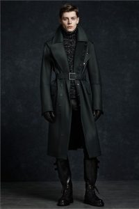 Men's winter outfit green overcoat belted