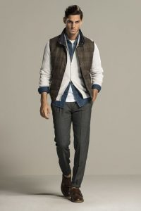 Men's winter outfit, men's cold weather outfit, puffer vest, cardigan, wool trousers