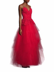 Nha Khanh red lace and tulle open back gown
