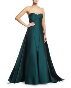 Zac Posen dark emerald green satin strapless ball gown