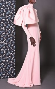Christian Siriano pink crepe bow shoulder gown