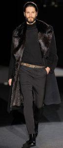 men's winter outfit, men's black shearling coat