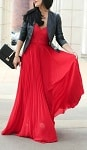 Valentine's Day maxi dress in red with black leather jacket 150