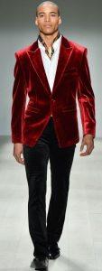 Valentine's day men's red velvet blazer
