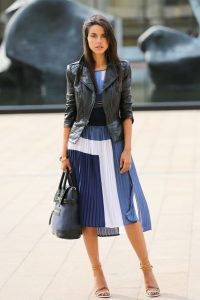 spring outfit to wear in winter blue and white print BCBG dress with black BCBG leather jacket vivaluxury