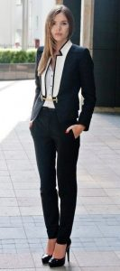 interview outfit, black and white tuxedo suit, what to wear to a job interview