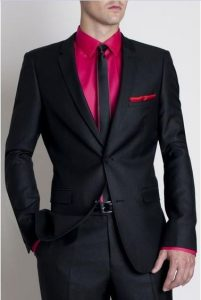 men's black suit with pink button down shirt and black tie