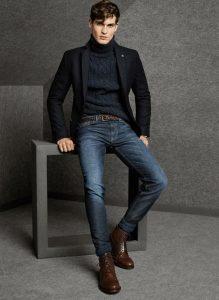 men's navy turtleneck sweater, black blazer and jeans