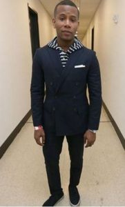 men's outfit striped hoodie and blue suit