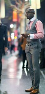 men's three piece gray suit with pink button down shirt