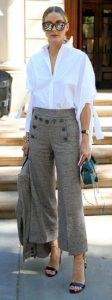 spring outfit to transition from winter, Olivia Palermo glen plaid wide leg cropped pants and blazer with white blouse