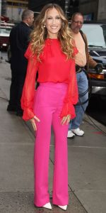color trends 2017, Sarah Jessica Parker wearing red chiffon top and fuchsia pink pants