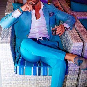men's spring essentials, bright color belt and shoes, men's blue suit, tassel loafers