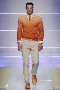 men's spring essentials, orange belt and shoes with tangerine sweater and chino's