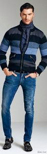 men's spring essentials, wearing white or light jeans, striped sweater, scarf and jeans
