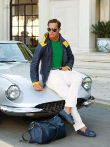 men's spring essentials, white jeans, green sweater and navy yellow jacket