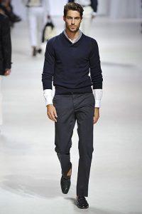 men's spring essentials, winter look of gray pants and navy sweater
