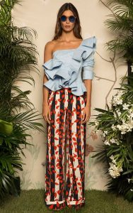spring 2017 prints, floral print, Johanna Ortiz navy striped pants with red floral design