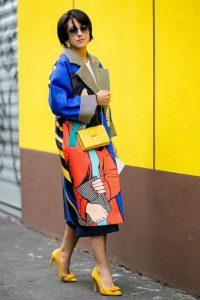 spring 2017 prints, pop culture prints, pop culture women's print jacket and yellow heels