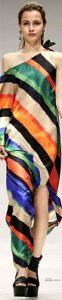 spring 2017 prints, rainbow stripes, Escada striped one shoulder dress 2017