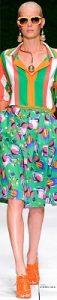 spring 2017 prints, rainbow stripes, Laura Biogiotti green orange and white striped blouse