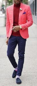 spring color trends 2017, men's pink blazer and red turtleneck with navy pants