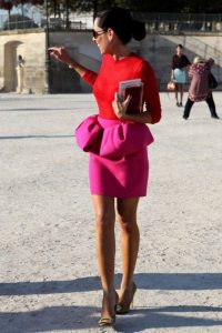 spring color trends 2017, red top and fuchsia pink bow waist skirt
