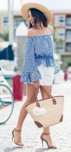 spring prints 2017 gingham, gingham off the shoulder blue and white top with white shorts and nude heels