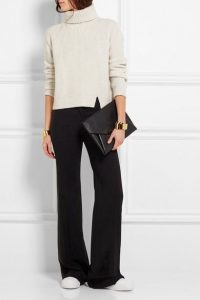 black wide leg pants, taupe turtleneck sweater and fashion sneakers