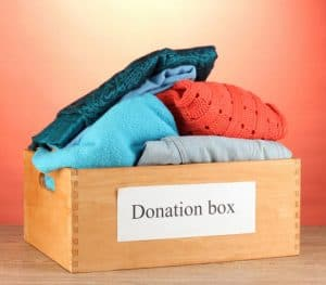 soring clean your closet, clothing donation box