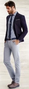 men's casual shoes, business casual outfit, gray pants, plaid shirt, navy blazer and brown color lug sole shoes