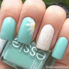 spring nail polish designs, green with sparkle and flower, spring nail art