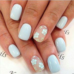 spring nail polish designs, light blue green with floral, spring nail art