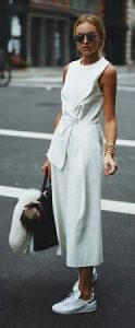 white culotte jumpsuit with sneakers