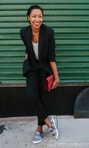 women's black suit and fashion sneakers