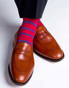chili red with blue stripes socks with camel color loafers, men's spring color sock and shoe combinations