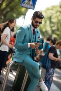 men's spring suit colors, men's green suit and white sneakers