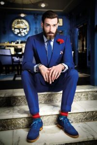 men's spring color sock and dress shoe combinations, bright blue suit with blue oxfords and print socks