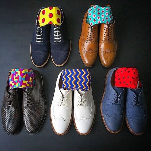men's spring color socks and shoe combinations