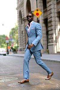 men's spring suit colors, men's light blue suit with pink check button down shirt