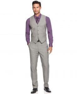 men's spring suit colors, men's light gray Alfani suit with purple button down shirt